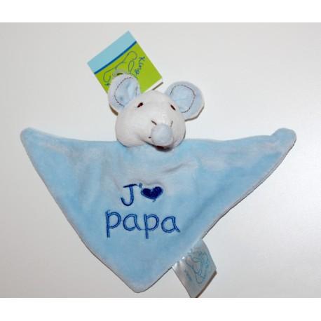 """Mini doudou muisje """"J'aime Papa"""" bleu"""