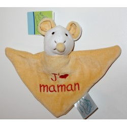 "Mini doudou souris ""J'aime Maman"" jaune"