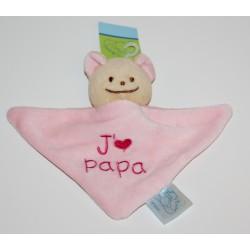 """Mini doudou ourson """"J'aime Papa"""" rose"""