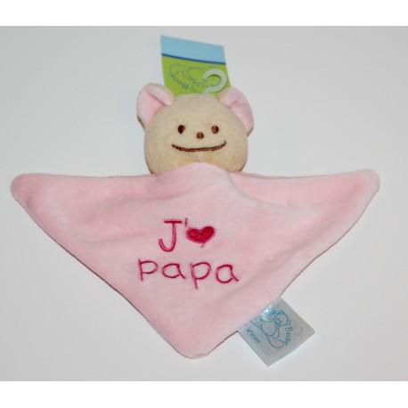 """Mini doudou beertje """"J'aime Papa"""" roze"""