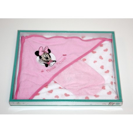 "Cape de bain + gant de toilette ""Minnie"" rose"