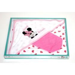 """Cape de bain + gant de toilette """"Minnie"""" blanc"""