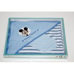 "Badcape + washcloth ""Mickey"" blue"