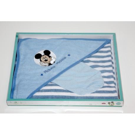 "Cape de bain + gant de toilette ""Mickey"" bleu"