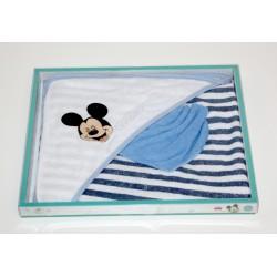 "Cape de bain + gant de toilette ""Mickey"" blanc"