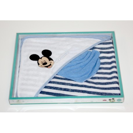"Badcape + washcloth ""Mickey"" white"