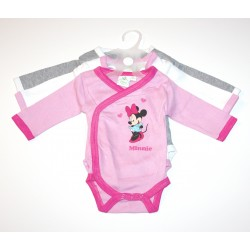 "Pack de 3 bodies ""Minnie Mouse"" rose / gris"