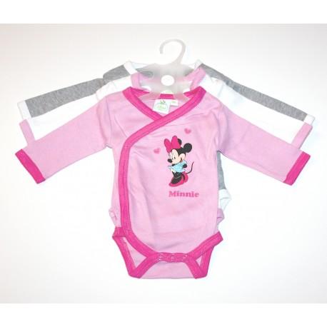 """3 body's """"Minnie"""" roze / grijs"""