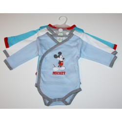 "Pack de 3 bodies ""Mickey"" bleu"