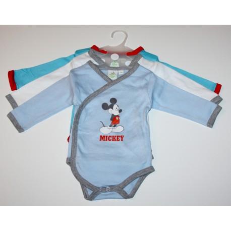 """Pack de 3 bodies """"Mickey"""" bleu"""