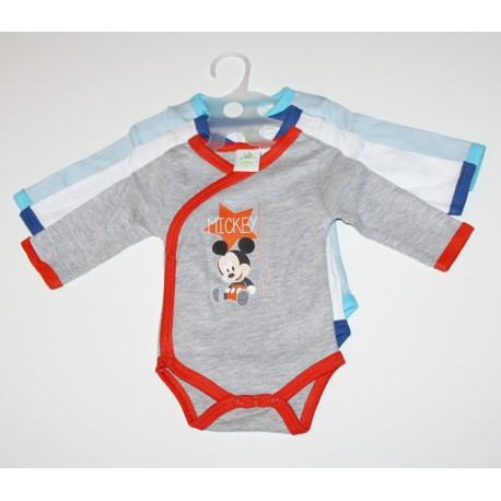 "Pack de 3 bodies ""Mickey"" gris / bleu"