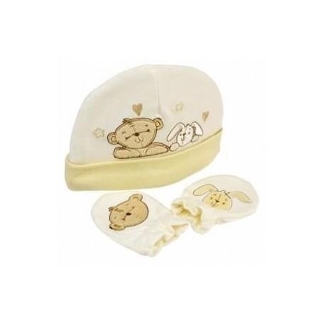 "Hat and mitt ""teddy bear"" set"