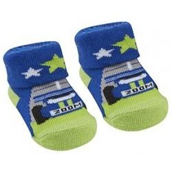 """Sokjes """"racewagens"""" blauw en groen"""