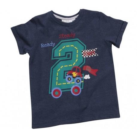 """T-shirt jongen """"2 jaar"""" marineblauw"""