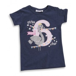 "T-shirt girl ""6 years"" navy blue"