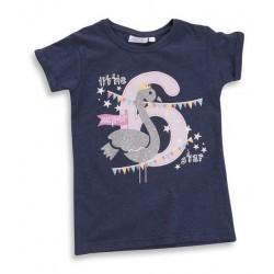 "T-shirt meisje ""6 jaar"" marineblauw"