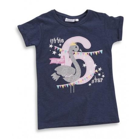"""T-shirt fille """"6 ans"""" bleu-marine"""