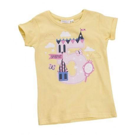 "T-shirt fille ""5 ans"" jaune"