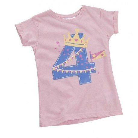 "T-shirt fille ""4 ans"" rose"