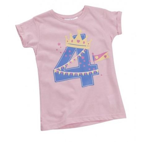"""T-shirt meisje """"4 jaar"""" roze"""