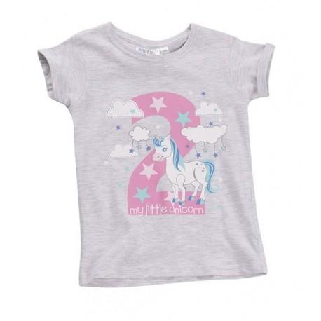 """T-shirt fille """"2 ans"""" gris"""