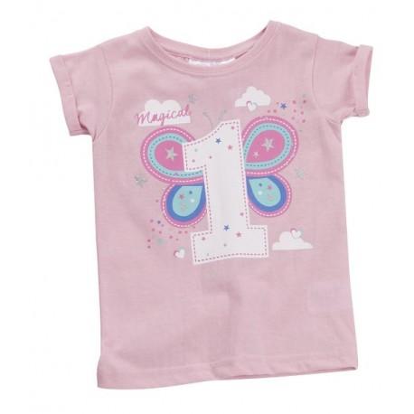 """T-shirt fille """"1 an"""" rose"""