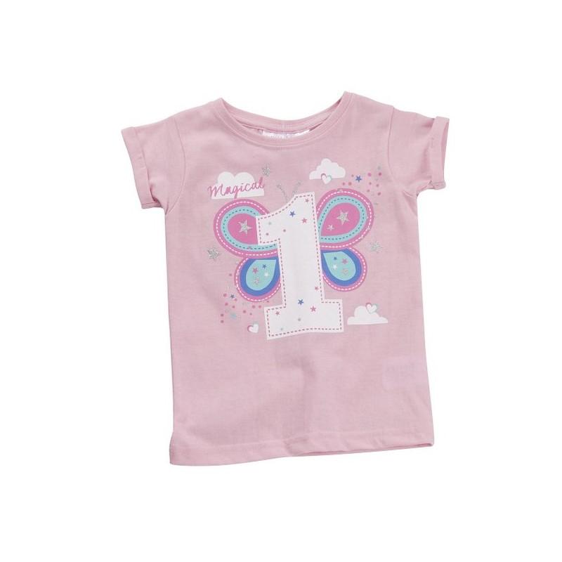 T Shirt Meisje 1 Jaar Roze Babitoudou