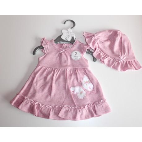 """Pink dress + hat """"butterfly"""""""