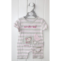 "Grey and pink striped romper ""teddy bear"""