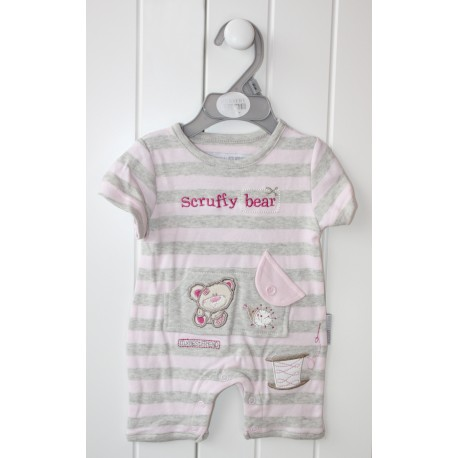 """Grey and pink striped romper """"teddy bear"""""""