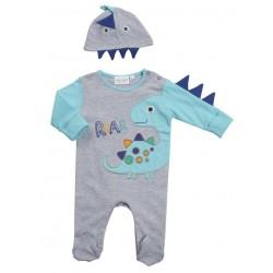 """Pyjama """"dinosaurus"""" grijs met muts"""
