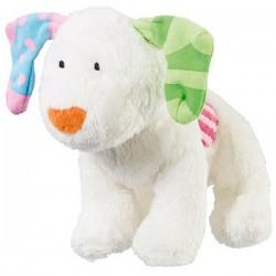 """Peluche chien """"Le bonhomme de neige et le petit chien"""" blanc"""
