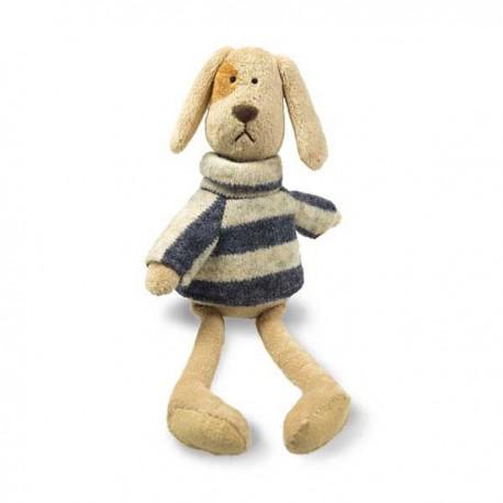 Peluche chien avec pull à coll roulé rayé