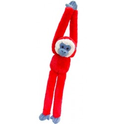 Peluche singe 50 cm rouge