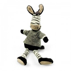 Plush zebra with gray sweater