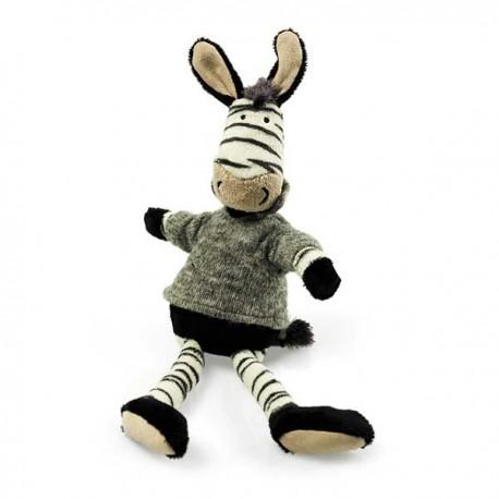 Knuffel zebra met grijs truitje