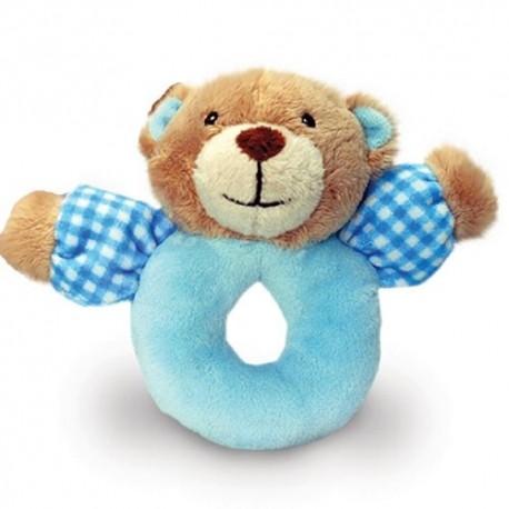 "Rattle bear ""vichy"" blue"
