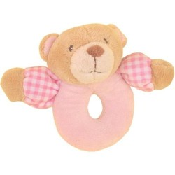 "Rattle bear ""vichy"" pink"