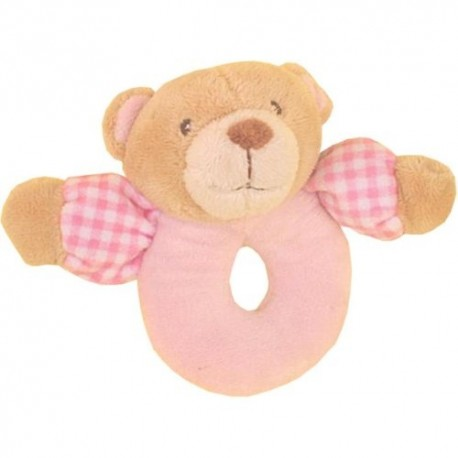 "Rattle bear ""vichy"" pink"