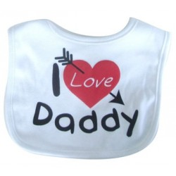 "Bavoir ""I Love Daddy"" blanc"