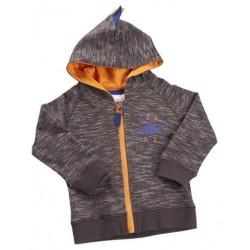 """Gilet à capuche """"dinosaure"""" gris avec tirette orange"""