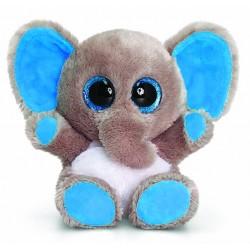"""Peluche éléphant """"Animotsu"""" gris et bleu"""