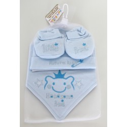 Embroidered prince hat, bib & bootees set blue
