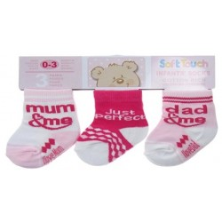 Packs Of Socks With 3 Designs - Girls Pink Pack