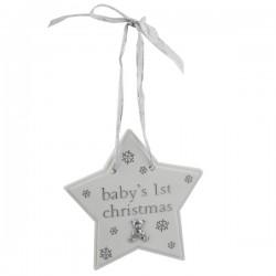 """Décoration de Noël étoile """"Baby's first Christmas"""" avec ourson"""