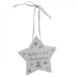 "Hanging star Christmas decoration ""Baby's first Christmas"" with bear"
