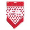 "Ensemble 2 bavoirs bandana ""My 1st Christmas"" rouge"