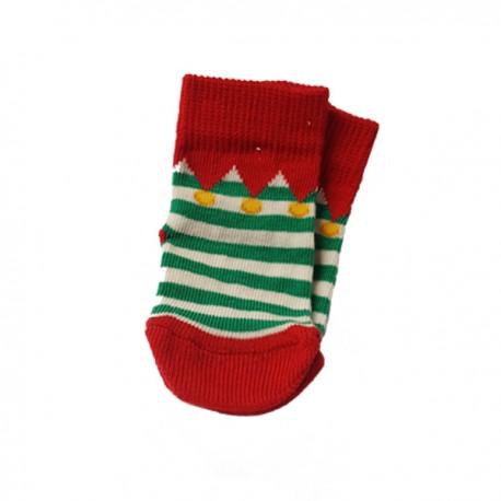 """Chaussettes """"Elfe"""" rouges et vertes"""