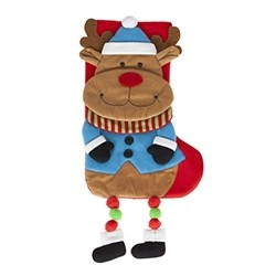 """Kerstsok """"Rendier"""" met hangende benen"""