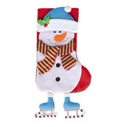 """Kerstsok """"Sneeuwman"""" met hangende benen"""